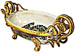 Ceramic Majolica Centerpiece Snake Handle Yellow White