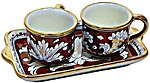 Ceramic Majolica Coffee Cup Service Red Gold Leaf Rect