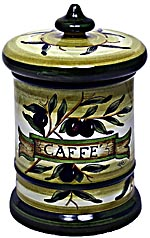 Ceramic Majolica Coffee Jar Tuscan Green Olive 20cm