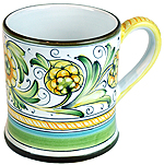 ceramic majolica coffee mug cup peacock green large