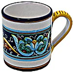 Ceramic Majolica Coffee Mug Cup Ricco Vario Blue Green