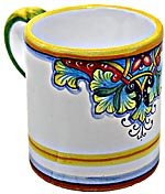 Ceramic Majolica Coffee Mug Cup Vario Red Blue Green