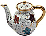 Ceramic Majolica Coffee Tea Pot Gold Leaf Autumn 15cm