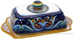 Ceramic Maiolica Covered Butter Dish Tray Ricco Vario