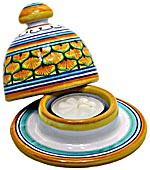 Ceramic Majolica Covered Candle Yellow Peacock 10cm