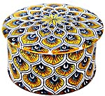 Ceramic Majolica Covered Cylinder Box Yellow Peacock 6