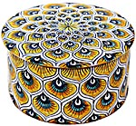 Ceramic Majolica Covered Cylinder Box Yellow Peacock 7