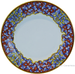 Deruta Italian Dinner Plate - Acanthus Red/Yellow