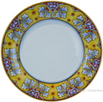 Deruta Italian Dinner Plate - FDL Yellow/Soft Blue