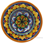 Ceramic Majolica Dipping Plate Green Orange 12cm