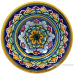 Ceramic Majolica Dipping Plate Green Yellow 12cm