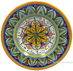 Ceramic Majolica Dipping Plate Yellow Red 15cm