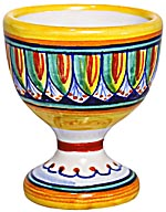 Ceramic Majolica Egg Cup Server Green Red Vario 6cm