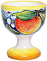 Ceramic Majolica Egg Cup Server Peach Fruit Orange 6cm