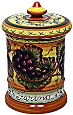 Ceramic Majolica Flour Jar Tuscan Grapes 20cm