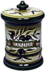 Ceramic Majolica Flour Jar Tuscan Green Olive 20cm