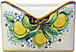 Ceramic Majolica Letter Holder Mail Lemon 24cm