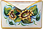Ceramic Majolica Letter Holder Mail Sunflower WH 24cm