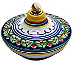 Ceramic Majolica Oil Lamp 1206 7 Green Blue Red