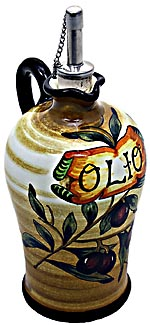Ceramic Majolica Olive Oil Dispenser Brown OLV N 20cm