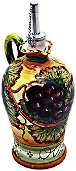 Ceramic Majolica Olive Oil Dispenser Grapes N 20cm