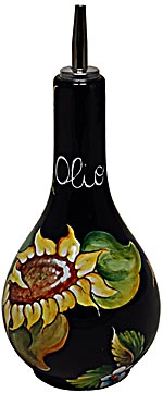 Ceramic Majolica Olive Oil Dispenser Sunflower Black 20