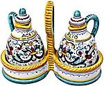Ceramic Majolica Olive Oil Vinegar Ricco Deruta 14
