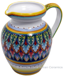 Ceramic Majolica Pitcher Green Red Blue 964 22cm