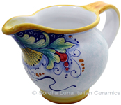Ceramic Majolica Pitcher Green Yellow Blue 12cm
