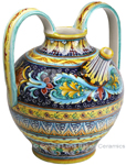 Ceramic Majolica Pitcher Handle Acanthus Blue FD 38