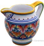 Ceramic Majolica Pitcher Orange Green 1225 12cm
