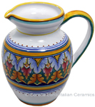 Ceramic Majolica Pitcher Orange Green Red 964 22cm