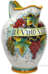 Ceramic Majolica Pitcher Red Grapes 853 34cm