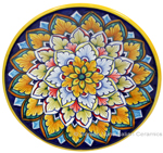 Ceramic Majolica Plate G06 Pink Blue Orange 15cm