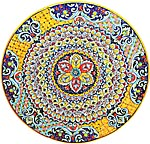 Ceramic Majolica Plate G06 Ricco Deruta Red Yellow 52cm
