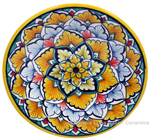 Ceramic Majolica Plate G06 Yellow Light Blue 15cm