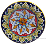 Ceramic Majolica Plate G08 Red Brown Blue 12cm