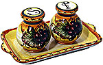Tuscan Italian Ceramic Salt and Pepper Service