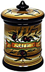 Ceramic Majolica Salt Jar Tuscan Brown Olive 20cm