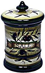 Ceramic Majolica Salt Jar Tuscan Green Olive 20cm