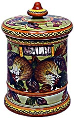 Ceramic Majolica Salt Jar Tuscan Pomegranate 20cm