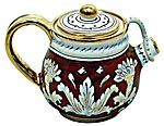 Ceramic Majolica Tea Coffee Pot Red Gold Leaf 12cm
