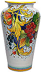 Deruta Italian Ceramic Vase - Grapes and Pomegranates
