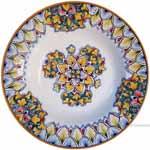 Italian Ceramic Pasta Bowl - Vario Antico - Green Acanthus