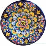 Ceramic Majolica Plate Flower Blue 20cm
