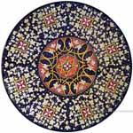 Ceramic Majolica Plate - Blue Squares 42cm