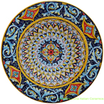 Ceramic Majolica Plate Light Blue Scrolls 35cm