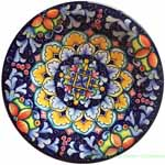Ceramic Majolica Plate Flower Red Blue 20cm