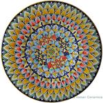 Ceramic Majolica Plate - Flower 7 Red Blue 42cm
