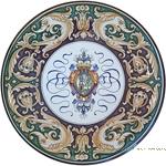 Ceramic Majolica Plate - Castle Shield/Delfini 42cm